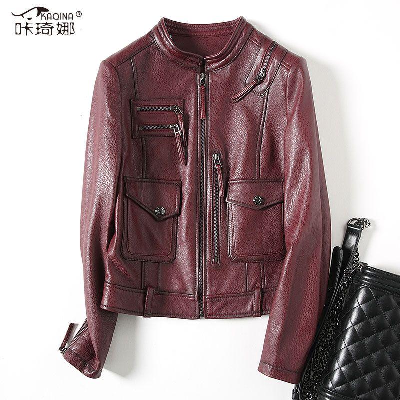 Herbst Echtem Leder Jacke Frauen 2018 Neue Echte Schaffell Leder Mantel Mode Vintage Kurze Biker Jacken Veste Femme ZL414