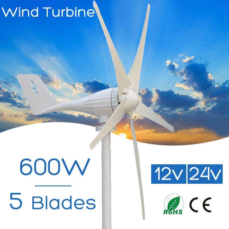 600W 12 V 24 Volt 5 Nylon Fiber Blades Horizontal Wind Turbines Generator Power Windmill Energy Charger Kit Home