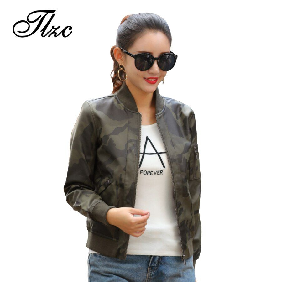 TLZC Street Women PU Leather Jacket Clothing 2018 Fall Army Green Pocket Zipper Stand Collar Casual Lady Motocycle Fashion Coat