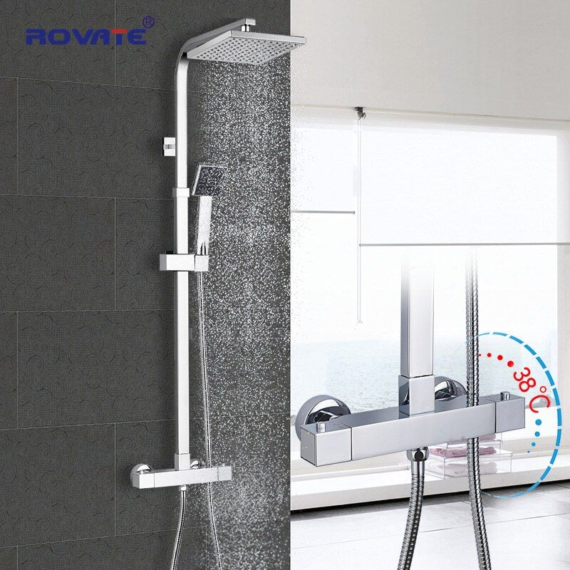 Ensemble de douche thermostatique ROVATE pour salle de bain, système de douche à robinet de bain à contrôle de température constante, laiton chromé