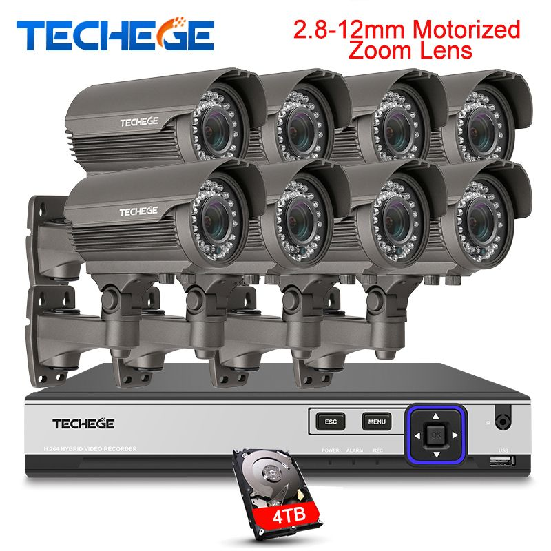Techege H.265 Security Surveillance Kits 8CH 4K 48V PoE NVR 4MP 2.8-12mm Motorized Zoom Camera POE System P2P Cloud cctv system
