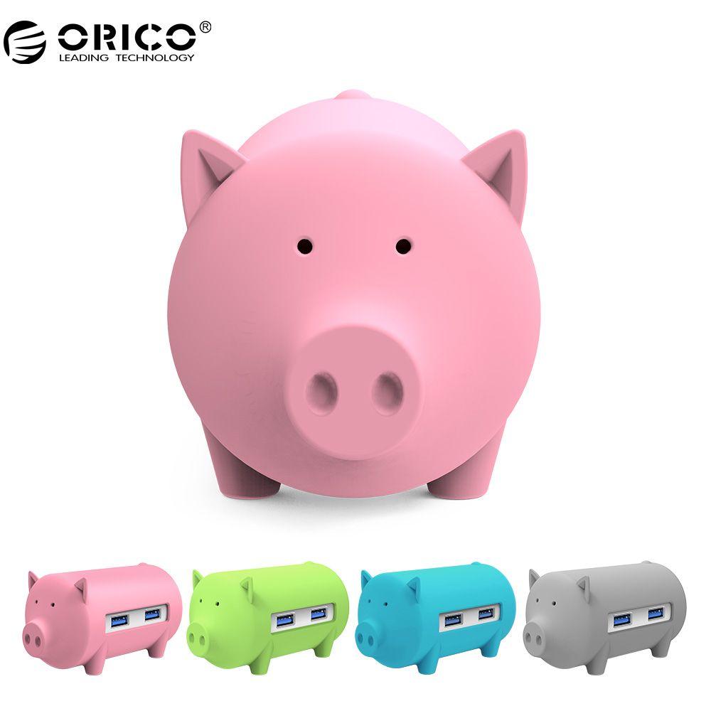 ORICO H4018 USB3.0 Hub Litte Porc Hub USB3.0 3 Ports avec TF SD Carte Lecteur pour MacBook Air Ordinateur Portable PC Soutien OTG fonction HUB
