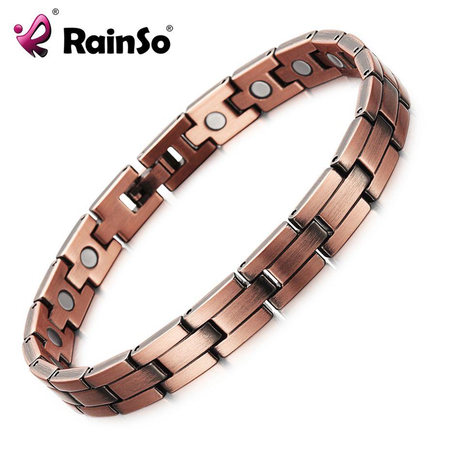 RainSo Copper Magnetic Men Women Bracelets <font><b>Bronze</b></font> Color Pure Copper Arthritis Healing Jewelry Brand Bracelets Homme