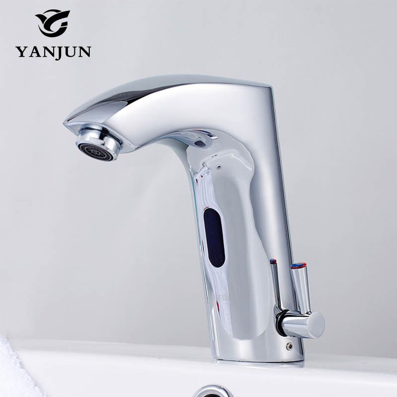 Yanjun Infrared Sensor Faucet Touchless Basin Faucet Automatic Tap Hotel <font><b>Bathroom</b></font> Brass Chromed Hot and Cold YJ-6620