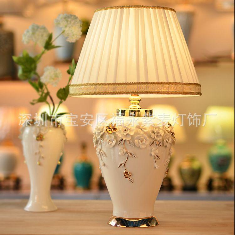 TUDA 38X62 cm Freies Verschiffen Neue Chinesischen Stil Tischlampe Weiße Vase Keramik Tischlampe Für Wohnzimmer schlafzimmer E27 110 V-220 V