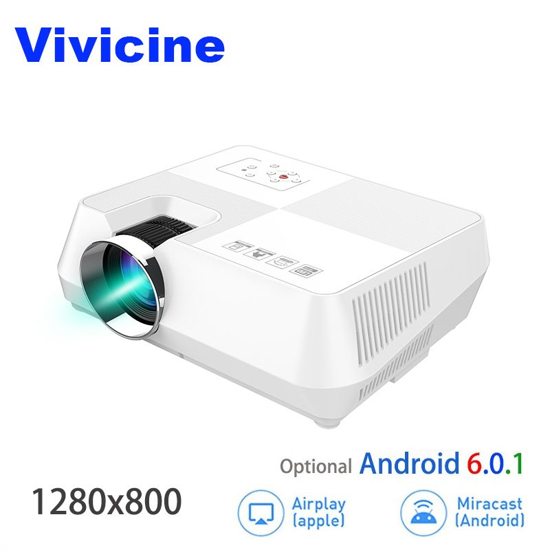 VIVICINE Android HD Projektor 1280x800 Pixel Drahtlose WIFI Miracast Airplay Bluetooth Optional Tragbare 1080 p TV PC Hause beamer