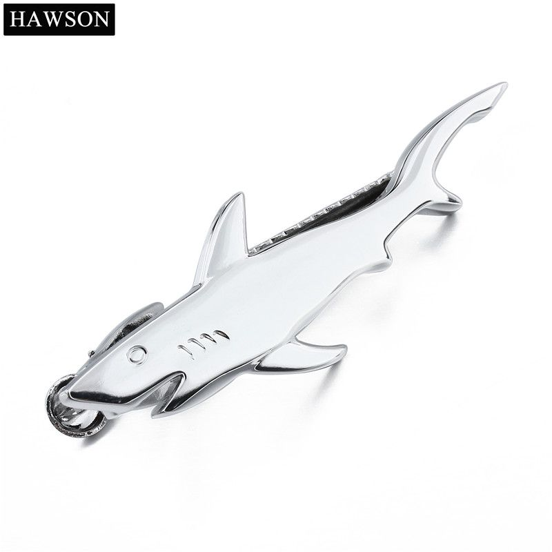 Shark Design Tie Bar for Men Polished Tie Pin Necktie Clip Accessory With Box