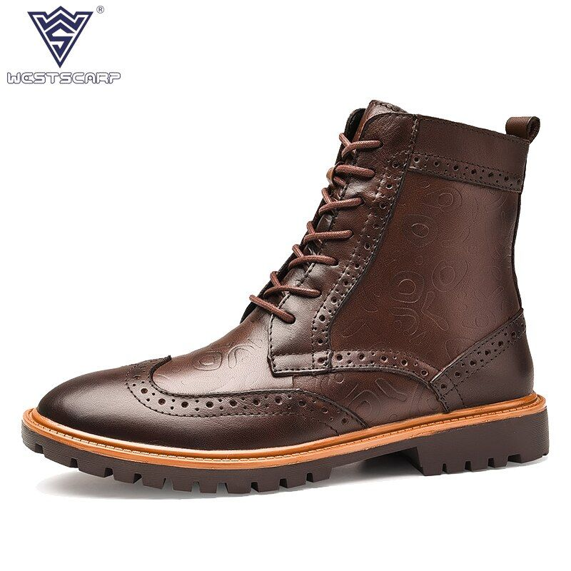 WEST SCARP 2018 New Winter Boots Genuine Leather Shoes Men Male High-quality Ankle Boot Plush warm boots Retro British Shoes