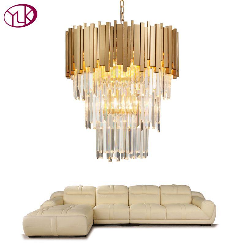 Youlaike Moderne Kronleuchter Beleuchtung Luxus Wohnzimmer Küche Insel Kristall Lichter Lange Gold Poliert Stahl Hängen LED Glanz