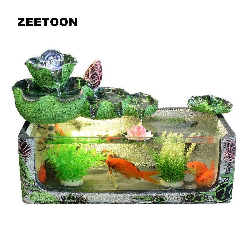 Glas Aquarium Kristallkugel Brunnen Feng Shui Desktop Steingarten Lotus Schmuck Glück Business-geschenk Kreative Wohnkultur