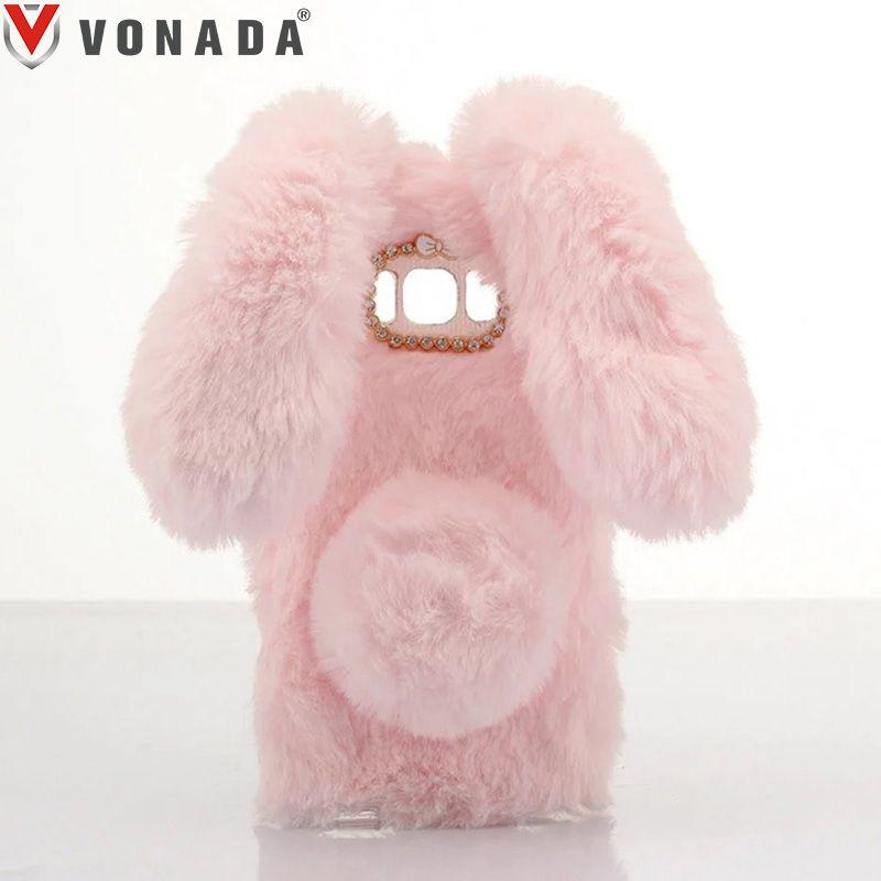 Vonada Plush Case for Samsung Galaxy J1 mini J105 / J1 mini Prime J106 Cute Rabbit Ears Fur Cover TPU Jewelled Soft Case Cover
