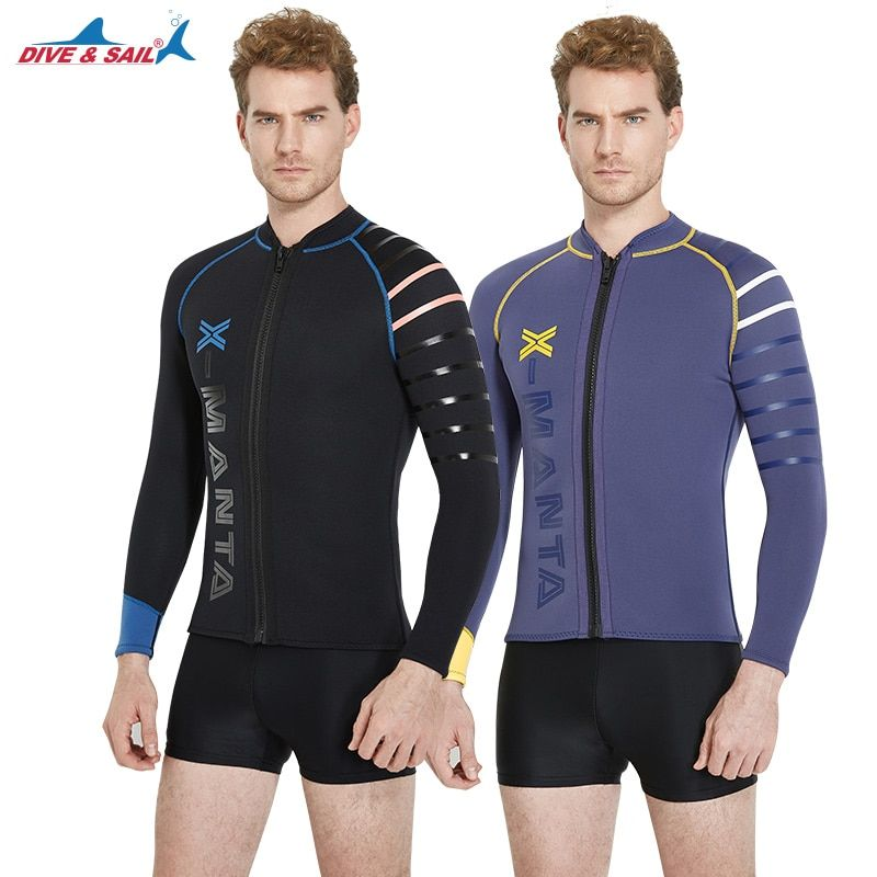 Diving and sailing 3mm long sleeve neoprene diving jacket men split suit winter waterski Swimming Surfing hot tops Wetsuits