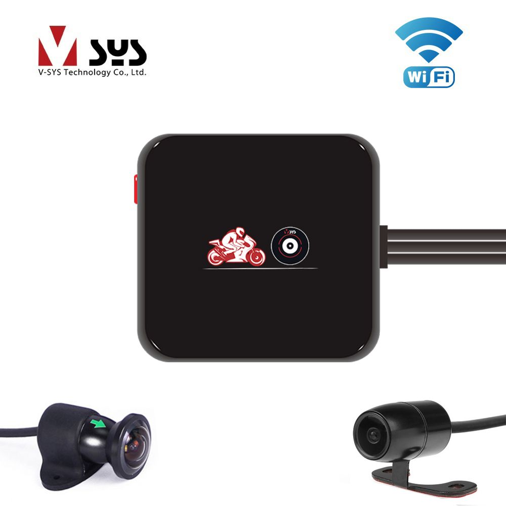 VSYS M6L WiFi Front 1080P + Rear 720P Dual Motorcycle Camera System 170 Degree Wide Angle Lens Motorcycle DVR Dash Cam Black Box