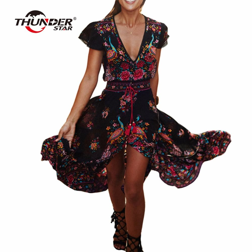Été Boho Robe femmes ethnique Sexy imprimer rétro Vintage Robe gland plage Robe bohème Hippie robes Robe Vestidos Mujer LX4