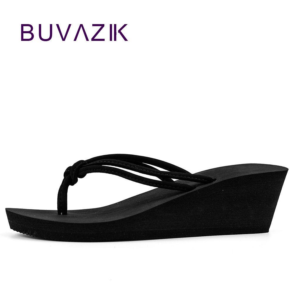 Pu Caoutchouc Slip-on Casual Plaine De Mode Sandales Chaussures de Plage Plat Wedge Flip Flops Madame Pantoufles Femmes 2018 d'été style