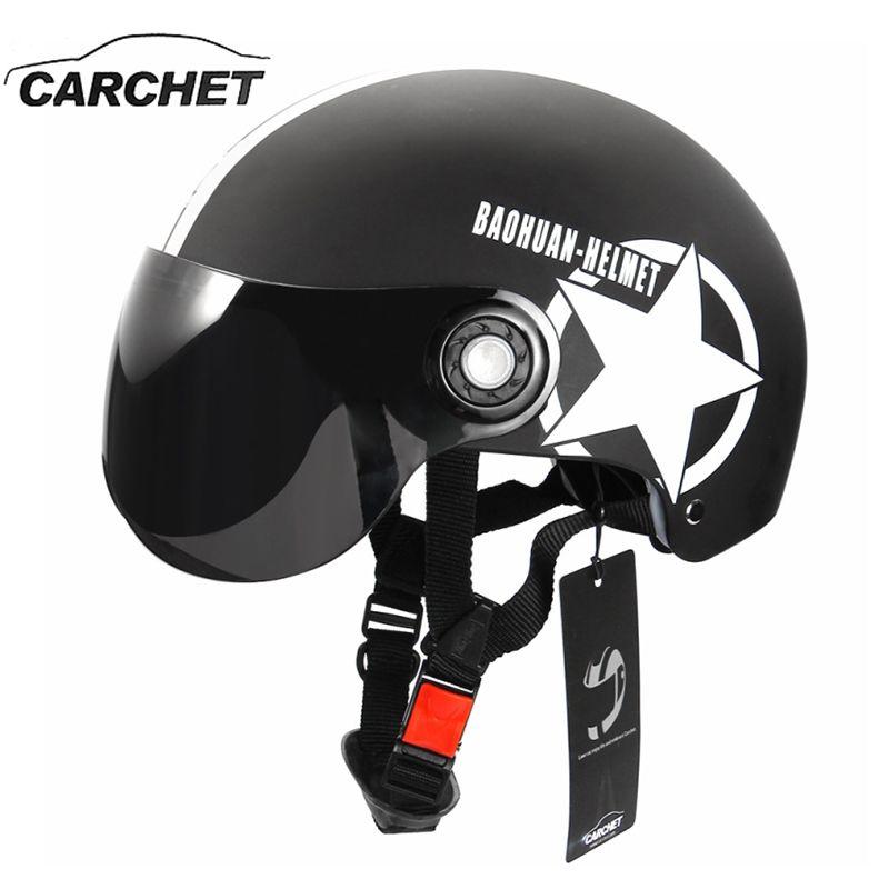 Carchet мотоциклетный шлем полуоткрытый Уход за кожей лица регулируемый Размеры защиты Шестерни головы Шлемы унисекс пятиконечная звезда чер...