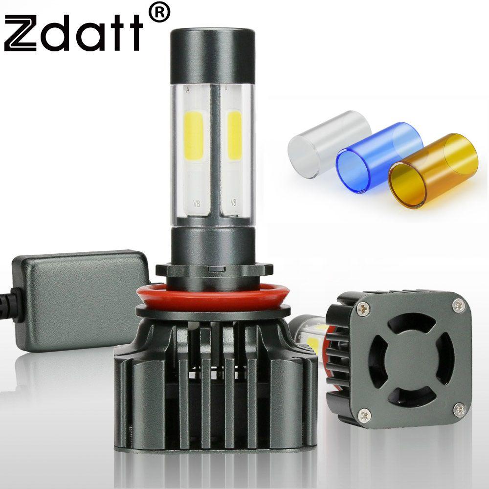 Zdatt 1 paire H8 H11 lampe à LED ampoule 100 W 12000LM voiture phare LED 12 V Super lumineux Auto Kits lampe 360 degrés 4 côtés éclairage