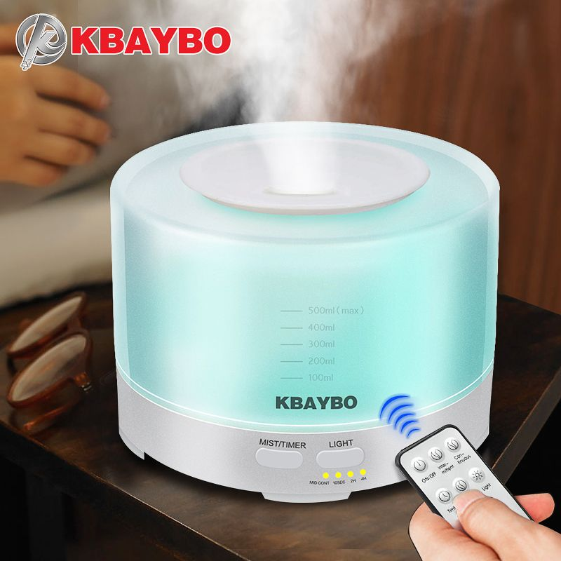 KBAYBO Aroma Ultrasonic air Humidifier 500ml Remote Control Essential Oil diffusers <font><b>LED</b></font> Light mist maker Aromatherapy purifier