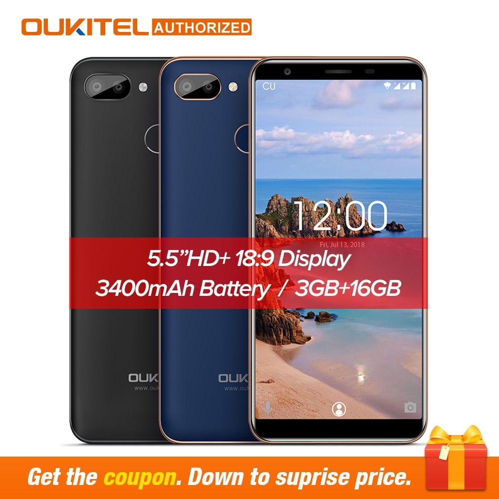 D'origine OUKITEL C11 Pro 5.5 pouces 18:9 Android 8.1 Mobile Téléphone Quad Core 3 GB RAM 16 GB ROM 4G téléphones Cellulaires 3400 mAh Smartphone