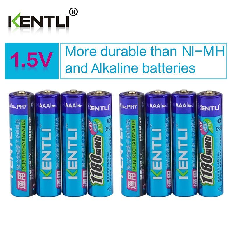 KENTLI <font><b>8pcs</b></font> no memory effect 1.5v 1180mWh AAA polymer lithium li-ion rechargeable batteries aaa battery