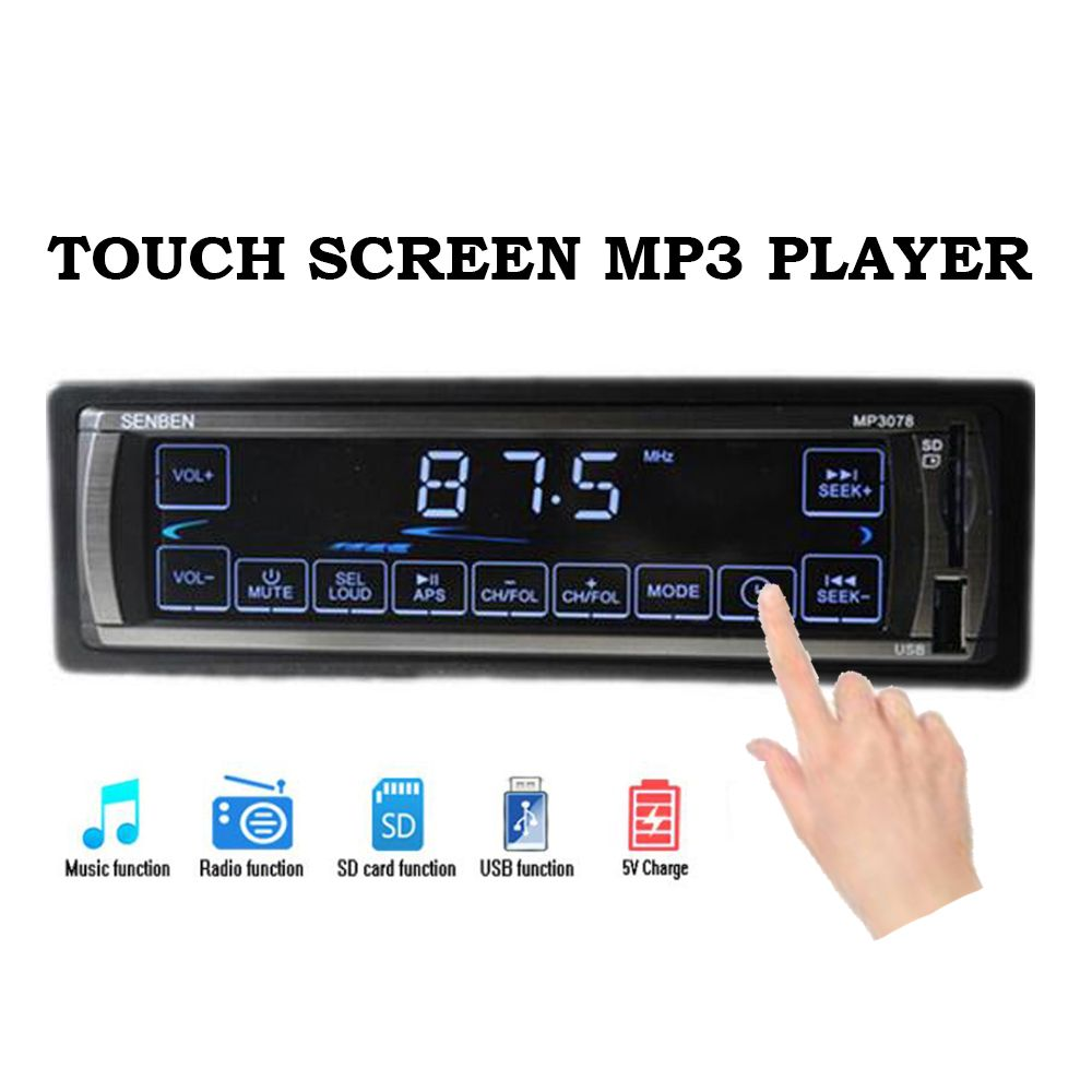 2.5'' 12V touch screen Car radio Player 5V charger MP3 FM USB /SD 1 din Audio Stereo In-Dash Car Bluetooth Multiple EQ Aux-In