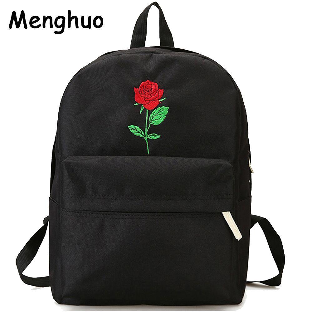 Menghuo hommes coeur toile sac à dos femmes sac d'école sac à dos Rose broderie sacs à dos pour adolescents femmes sacs de voyage Mochilas