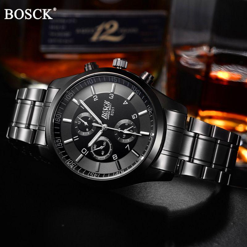 BOSCK Top marque de luxe montre décontracté montres hommes montres à Quartz hommes étanche montre d'affaires militaire en acier inoxydable