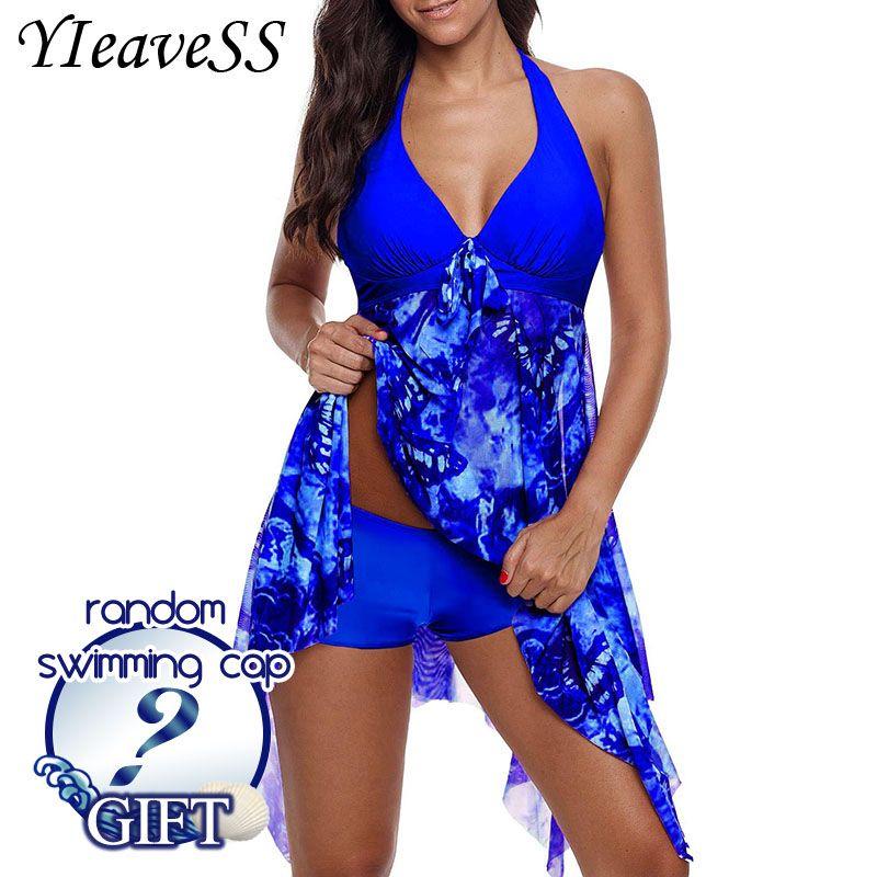 2019 New Plus Size Tankini set Women Swimwear Two Piece Print Halter Swimsuit Swimming Dress Bathing Suit S--5XL
