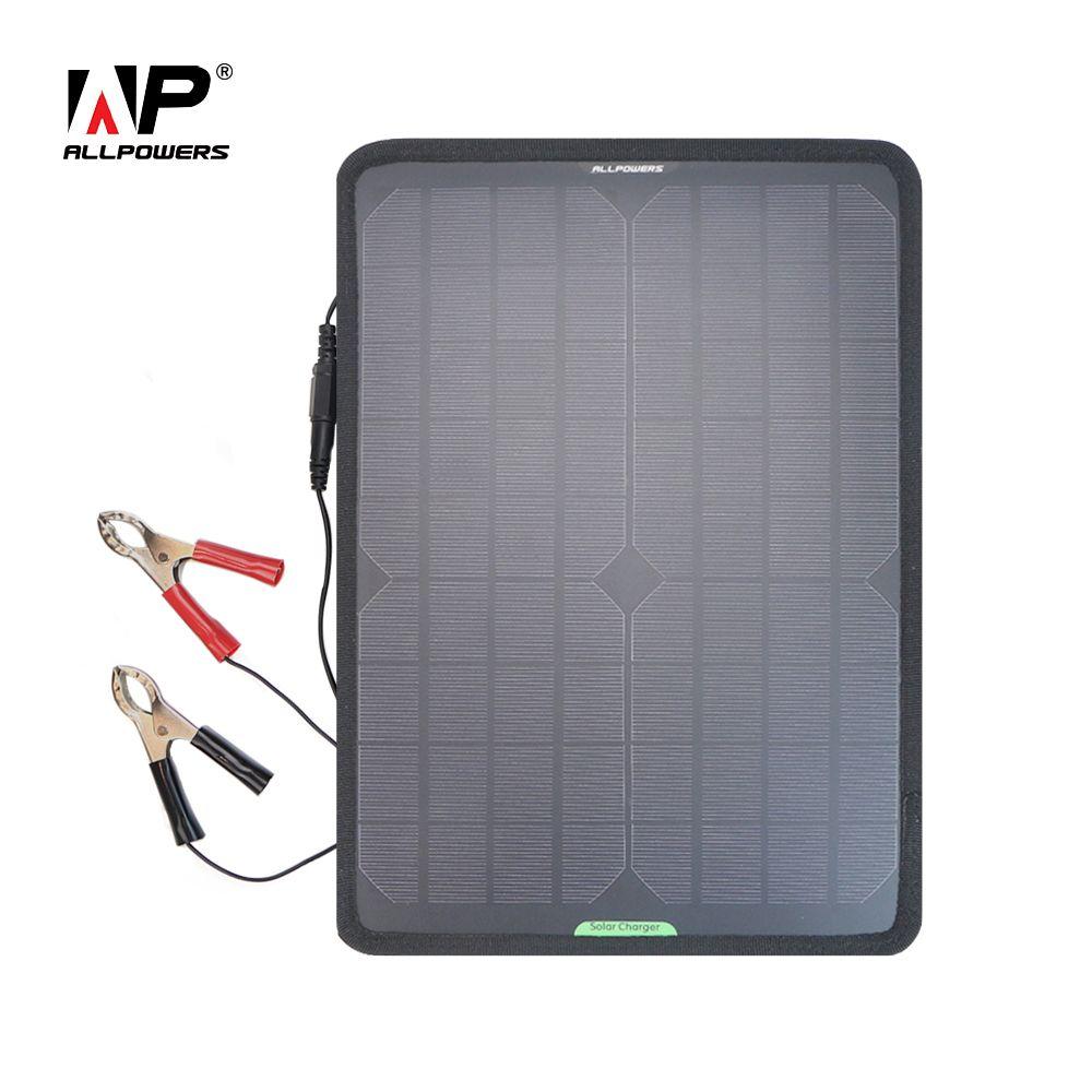 Chargeur de voiture panneau solaire ALLPOWERS 10 W 12 V chargeur de batterie de voiture solaire pour batterie 12 V de véhicule bateau moto