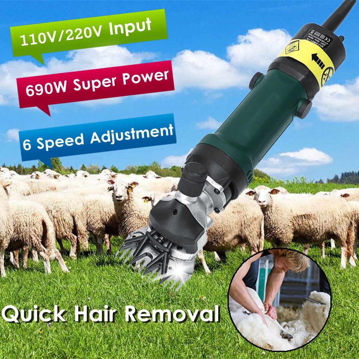 Electric Sheep Shearing Clipper 690W 6 Speed Adjustable Shears Goat Hair Removal Trimmer Light Weight Durable Solid High Speed