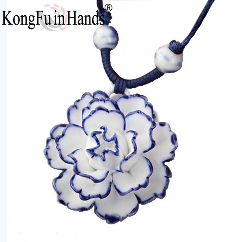 Venta caliente peonía artesanía Cerámica Joyería de cadena Pendiente del suéter largo collar de Flores de Porcelana Tradicional vendimia envío libre