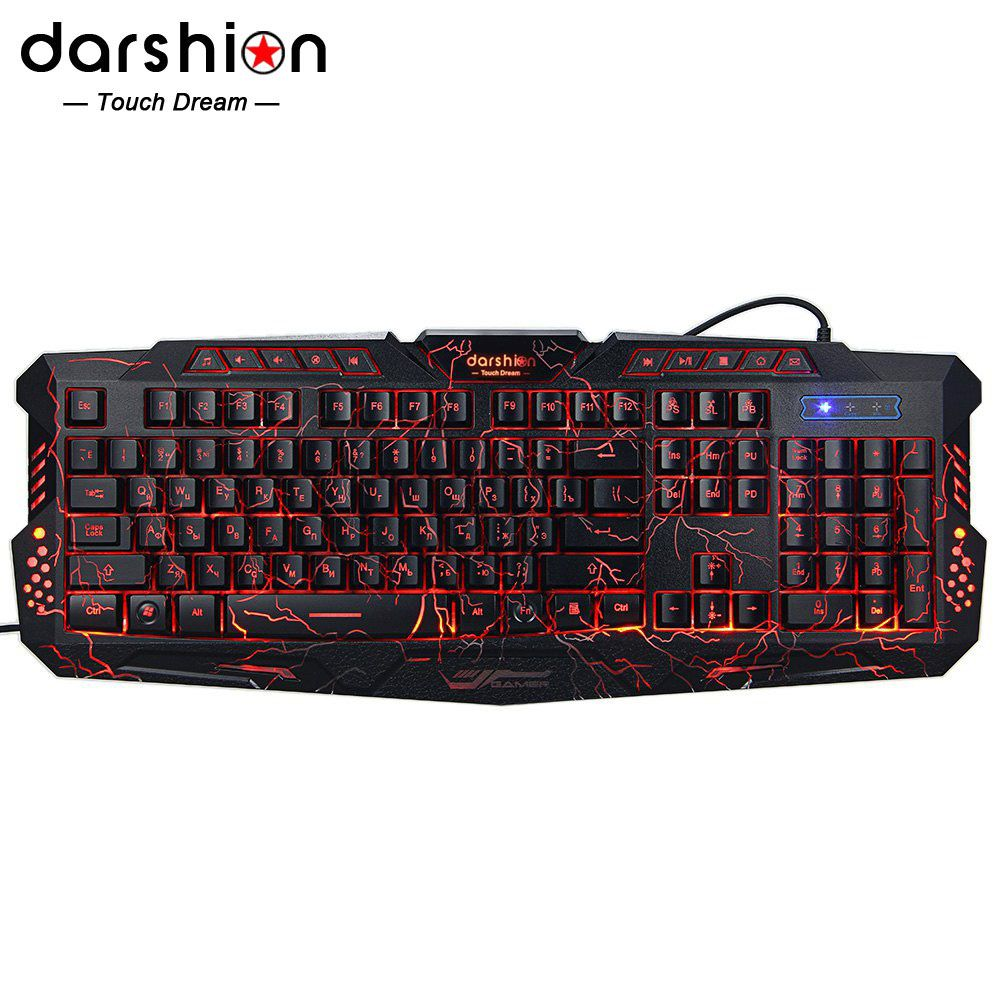 Darshin M300 Russian/English Backlit <font><b>Keyboard</b></font> LED 3-Color USB Wired Colorful Breathing Waterproof Computer Crack Gaming <font><b>Keyboard</b></font>
