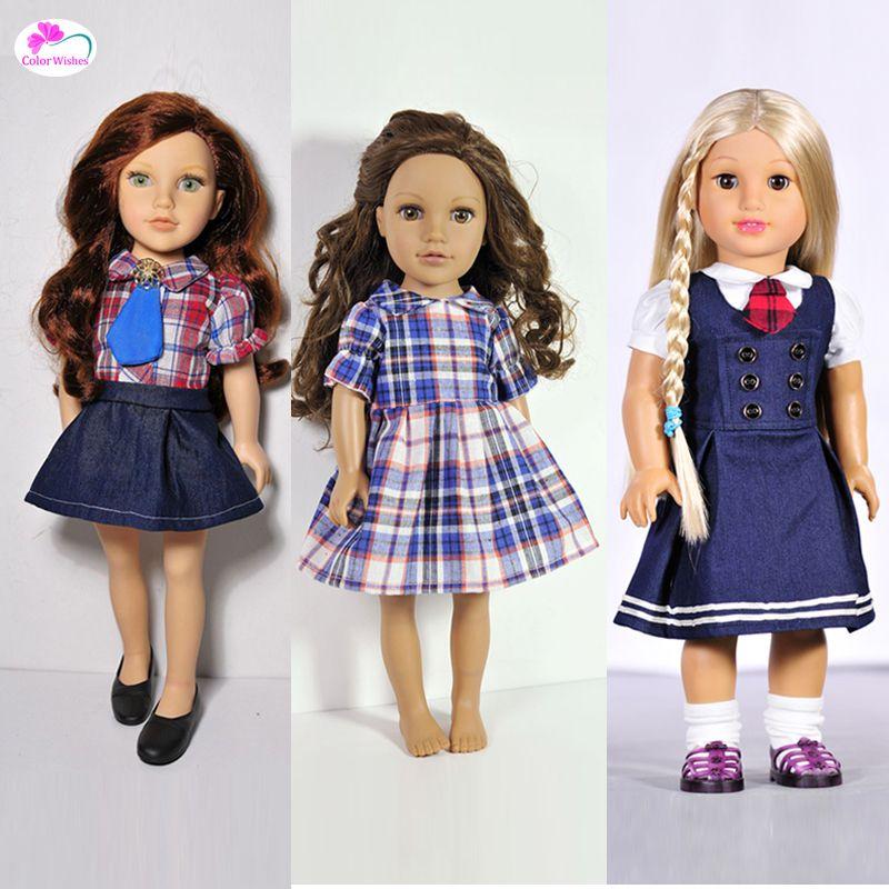 Robes de mode, uniformes scolaires Vêtements pour poupées 18 Pouce 45 cm Américain fille Accessoires pour poupées