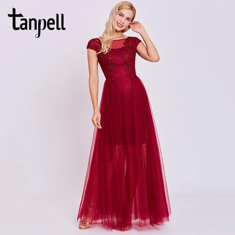 Tanpell appliques long evening dress burgundy short sleeves floor length a line gown cheap women scoop prom formal evening dress