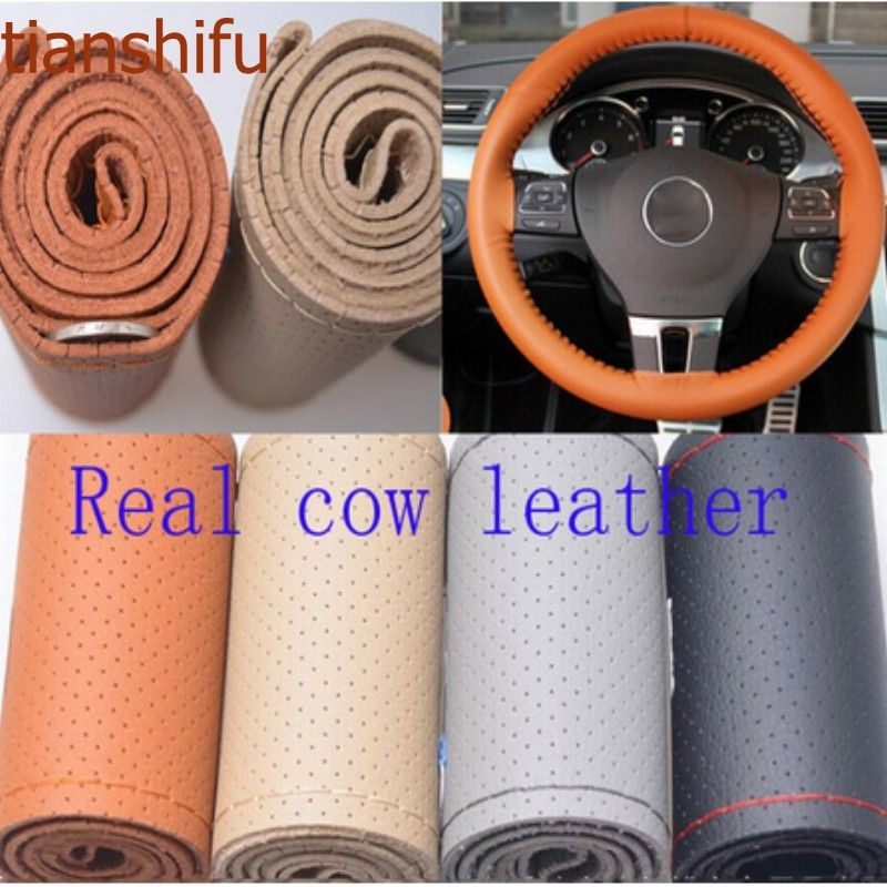 Tianshifu Real Genuine Leather good quality unviersal Steering Wheel Cover Free shipping 36/38/40cm