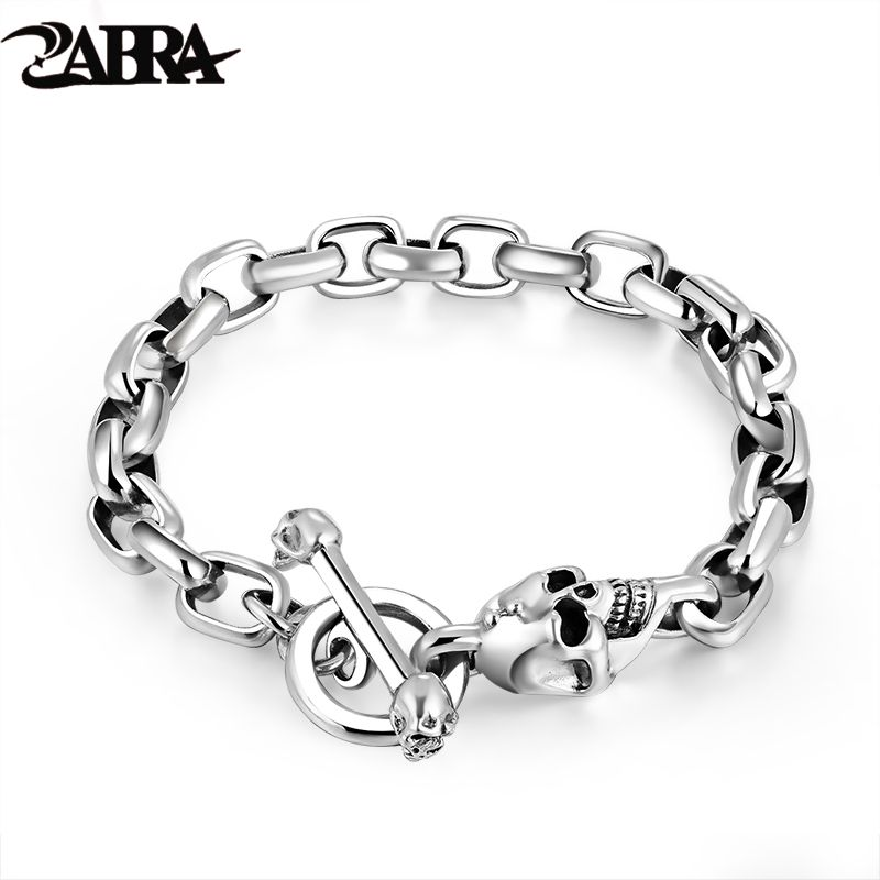 Real Pure 925 Sterling Silver Skull Men Domineering Gothic Bracelet Personality Vintage Punk Thai Silver Armband Man Accessories