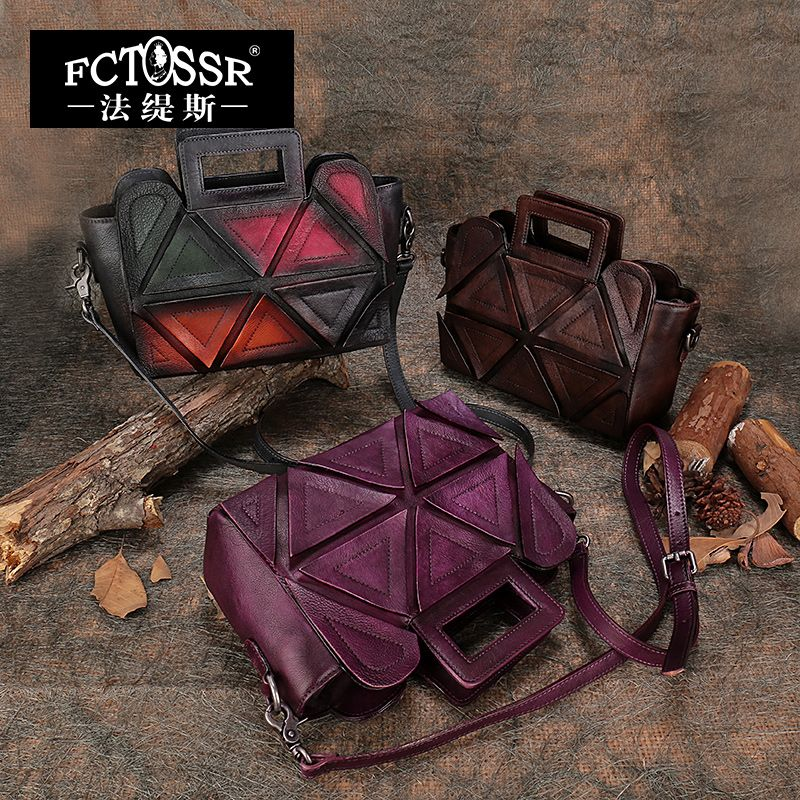 Small Messenger Bag Genuine Leather Bags Women Handbags 2018 Shell Style Handmade Shoulder Bag Female Geometric Design