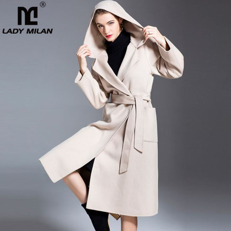 Lady Milan 2018 Winter Women's Hooded Collar Long Sleeves Double Wool Cashmere Belt Fashion Runway Coats Outerwear Trench