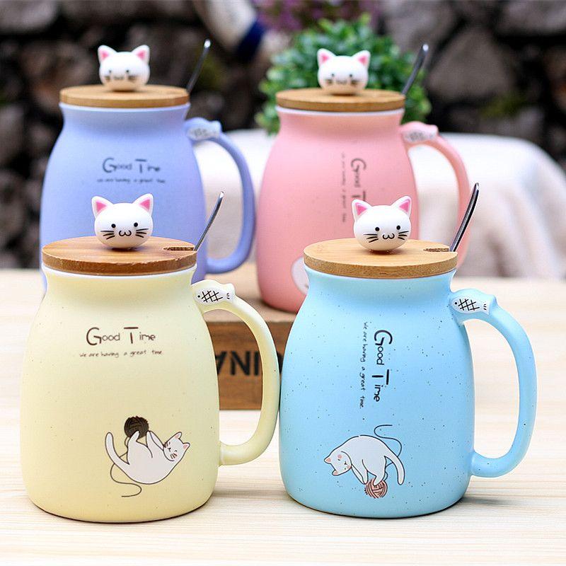 Nouveau sésame chat résistant à la chaleur tasse couleur dessin animé avec couvercle tasse chaton lait café tasse en céramique enfants tasse cadeaux de bureau