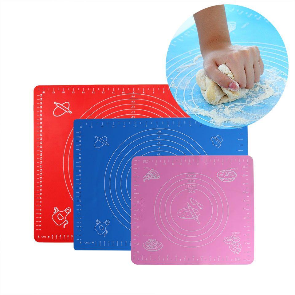 Matte Für Rolling Teig Nicht-Stick Silikon Gebäck Bord Nicht-Slip Hohe Temperatur Widerstand Mit Größe Muster Fondant backen Werkzeug