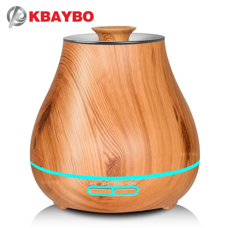 KBAYBO  Aroma Essential Oil Diffuser Ultrasonic Air Humidifier with Wood Grain electric LED Lights aroma diffuser for home