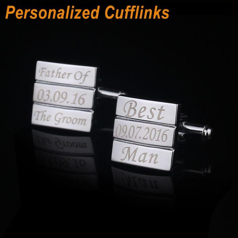 Aniversario de Boda Gemelos Láser personalizado Grabado Nombre Record Classic Personalizada gemelos para Hombres QiQiWu CL-042