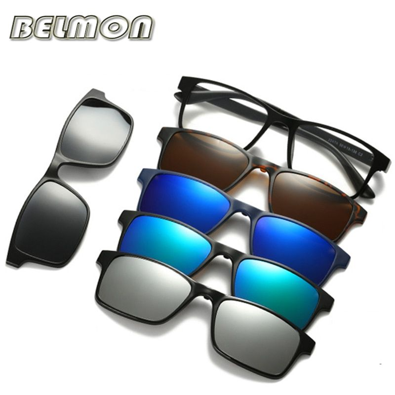 Fashion Optical Spectacle Frame Men Women With 5 <font><b>Clip</b></font> On Sunglasses Polarized Magnetic Glasses For Male Myopia Eyeglasses RS159