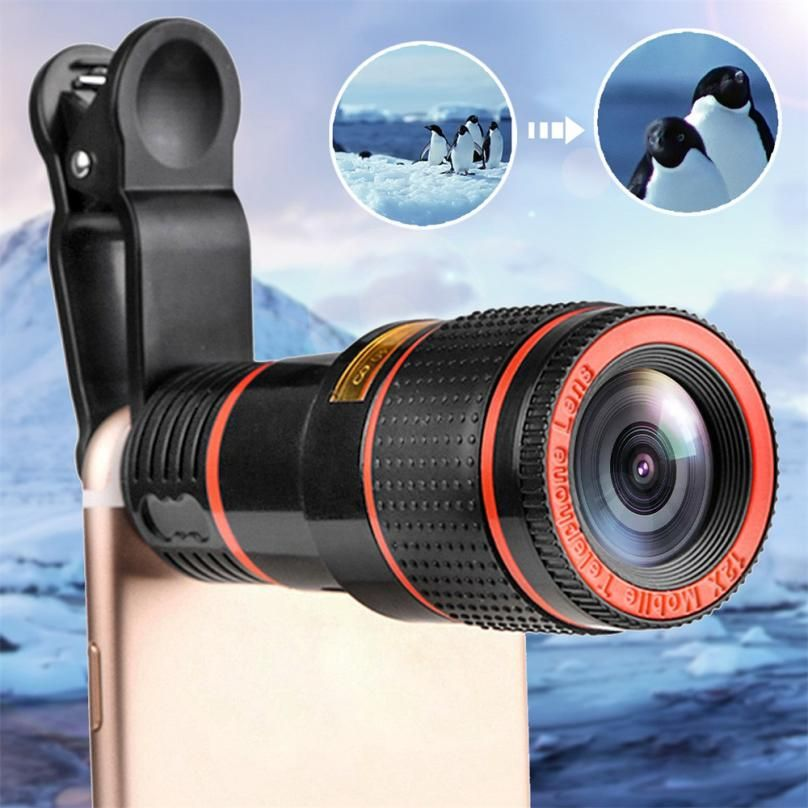 HD 12x Optical Zoom Camera Telescope Lens With Clip For iPhone/Phone Universal lens DSLR Universal Product Mobile Phone