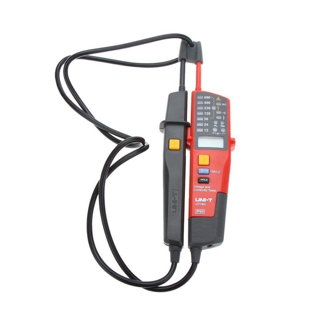 Uni T Ut18c Digital Voltage Continuity Tester AC DC Voltmeter Auto Range Volt Detector Lcd Led Indicate Rcd Test IP65 6v-690v