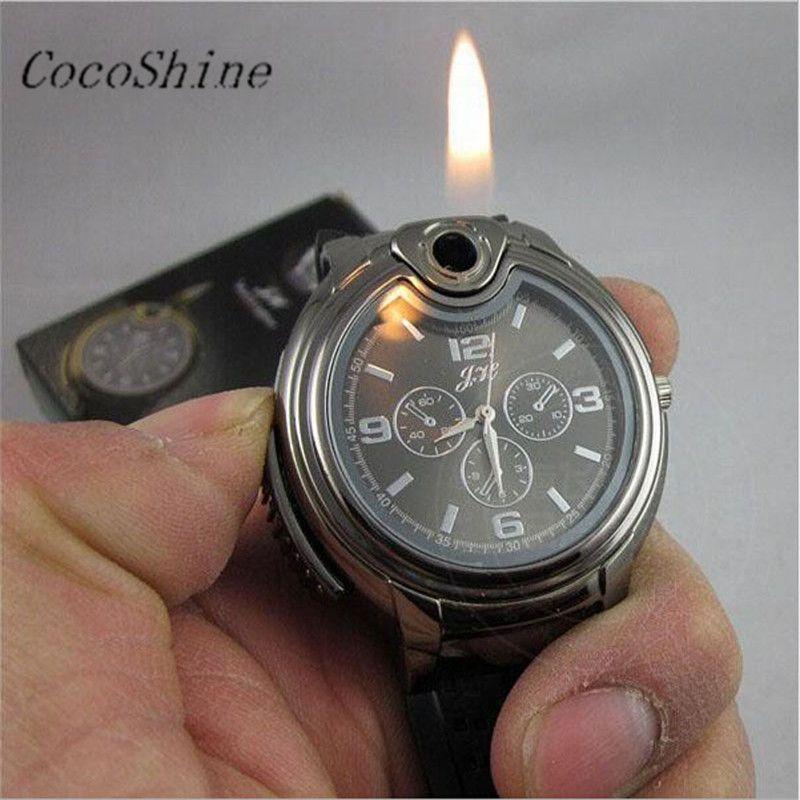 Hombres relojes reloj momento reloj Militar encendedor reloj hombres cuarzo butano recargables gas cigarro relojes regalos #20