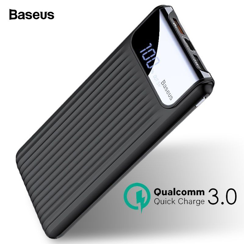 Baseus Quick Charge 3.0 10000mAh Power Bank LCD 10000 mAh Powerbank External Battery Charger For Mobile Phone Pover Poverbank