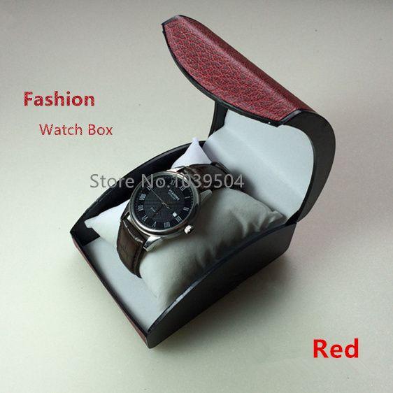 Дешевые Пластик часы коробка для хранения красный бренд браслет и Коробки для часов с Подушки Детские Модные упаковочная коробка подарочна...