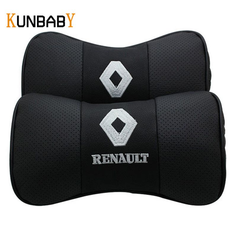 KUNBABY 1Pair Car Styling Leather Car Neck Pillow Head 3D Car Headrest Pillow Cushion Cover For Renault Duster Megane 2 3