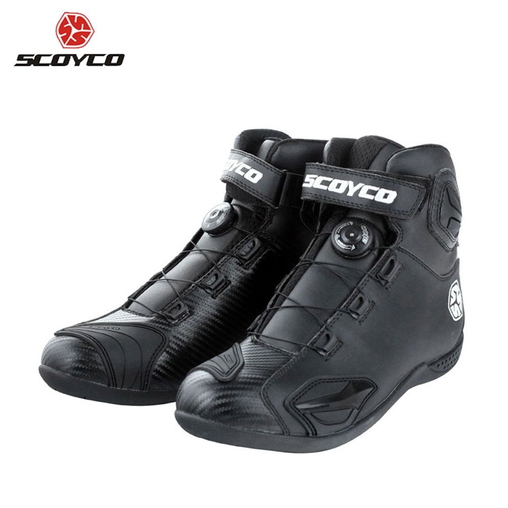 SCOYCO Motorcycle Boots Leather Motocross Boots Motorcycle Touring Riding Boots Shoes With Shell Protection ATOP Buckles MBT010